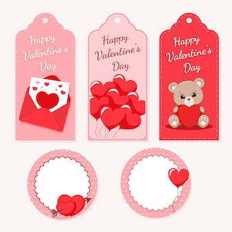 Valentine's day gift tags pack.
