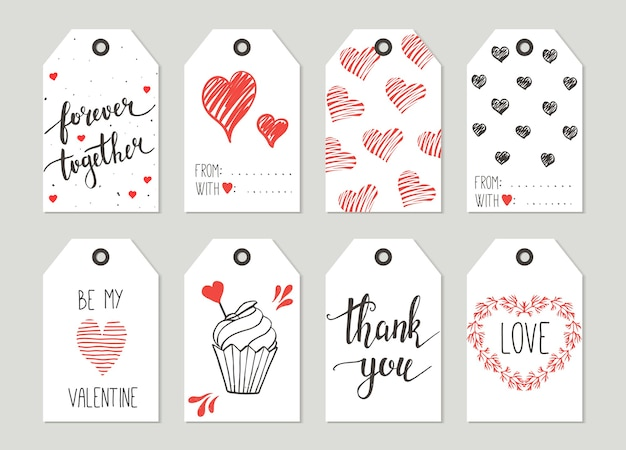 Valentine's day gift tags set