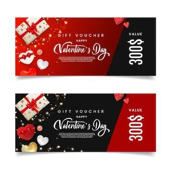 Valentine's day gift voucher cards.