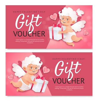 Valentine's day gift voucher template. cute cupids with hearts