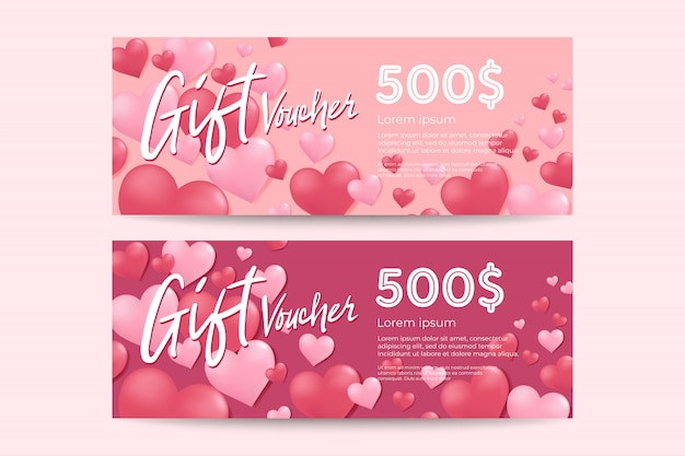 Valentine's day gift voucher template.