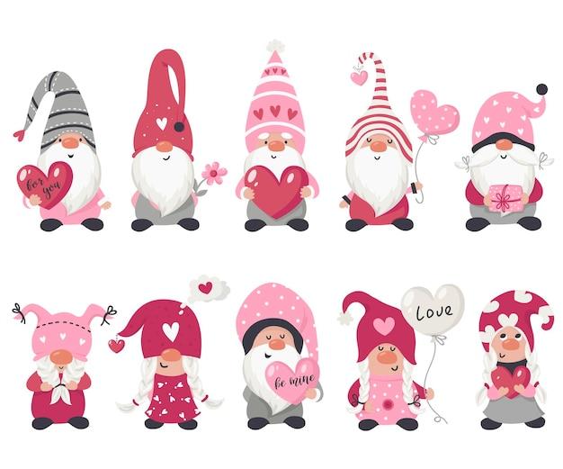 Коллекция гномов ко дню святого валентина. иллюстрация для поздравительных открыток, рождественских приглашений и футболок