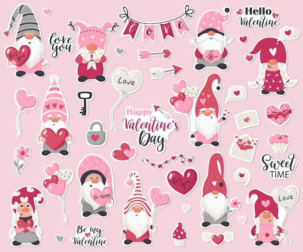 Valentine's day gnome stickers collection illustration