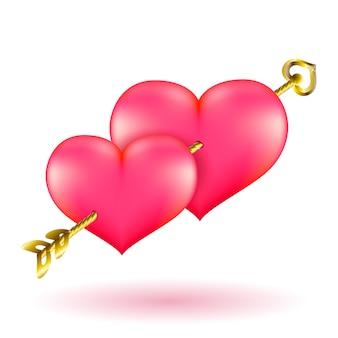 バレンタインの金の矢と心。ベクタークリップアートイラスト。