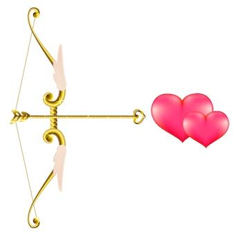 バレンタインの金の弓と矢。