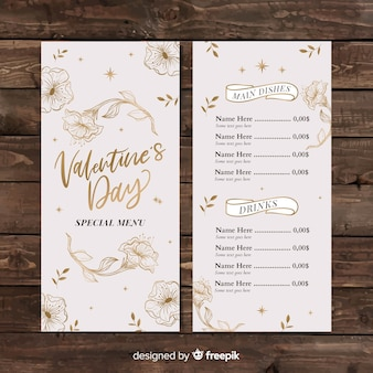 Valentine's day golden flowers menu template