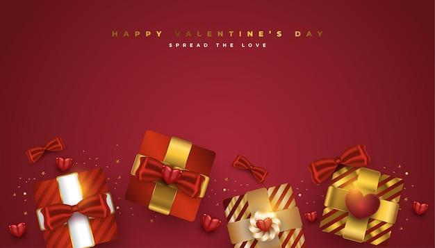 현실적인 빨간색과 금색 선물 상자와 반짝이 골드 색종이 발렌타인 인사말 배너