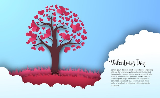 Valentine's day greeting card banner template with love heart