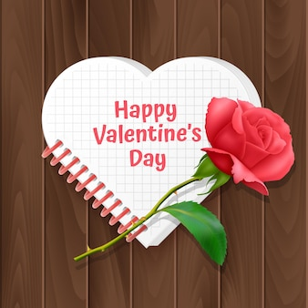 Valentine's day greeting card, a card with a heart-shaped notebook and a realistic rose