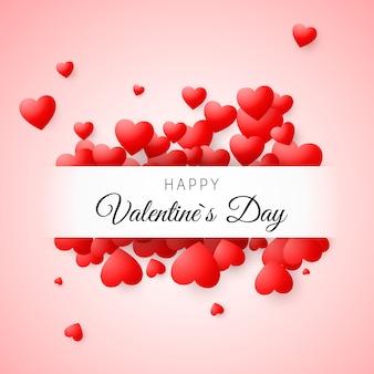 バレンタインのグリーティングカード。フレームと幸せなバレンタインデーをレタリングとピンクの背景に赤い紙吹雪ハート。ポスター、結婚式の招待状、母の日、バレンタインの日、カード。