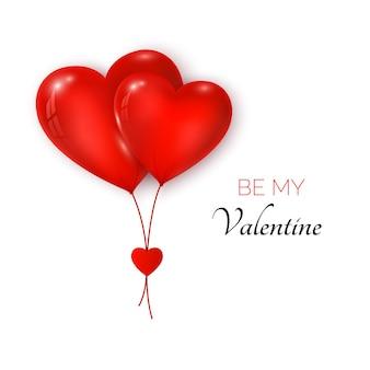 발렌타인 데이 인사말 카드. 커플 공기 풍선 붉은 색 심장 모양. 내 발렌타인이 되십시오.