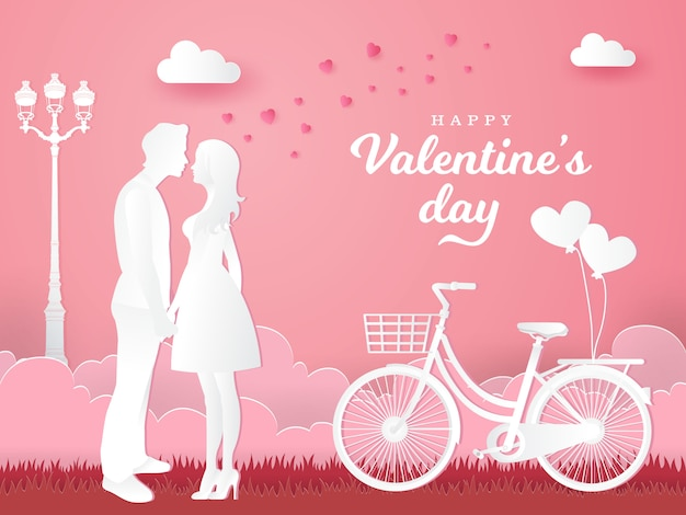 Valentine's day greeting card. couple in love holding hands and looking each other with bicycle on pink