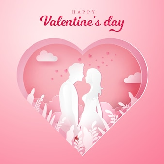 Valentine's day greeting card. couple in love holding hands and looking each other with carved heart