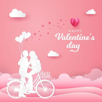 Valentine's day greeting card. couple sitting at one bicycle and looking each other with one hand holding heart shaped balloons on pink