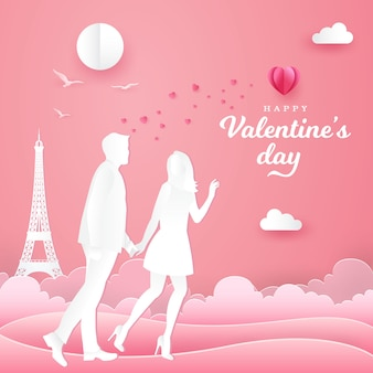 Valentine's day greeting card. couple walking and holding hands on pink