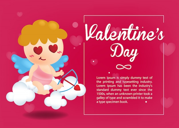 Valentine's day greeting card. cute cupid with love bow on pink heart background. valentine template