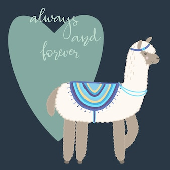 Valentine's day greeting card. cute llama with hand drawn elements. always and forever.