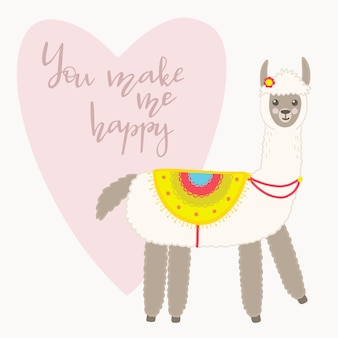 Valentine's day greeting card. cute llama with hand drawn elements. you make me happy.
