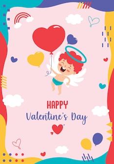 漫画のキャラクターとバレンタインデーのグリーティングカードのデザイン