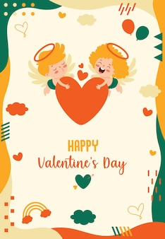 Valentine's day greeting card design with cartoon character