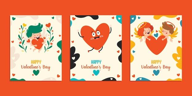 Дизайн поздравительной открытки ко дню святого валентина с мультипликационным персонажем