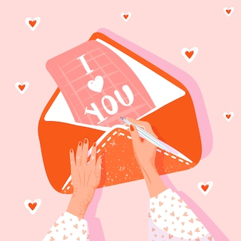 발렌타인 데이 인사말 카드. 여자는 연애 편지를 씁니다. 여자 손, 봉투 및 편지와 그림입니다. 벡터 일러스트입니다.
