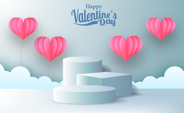 Valentine's day greeting card marketing promotion banner with empty stage podium product display with pink hearth illustration paper cut style and blue pastel background