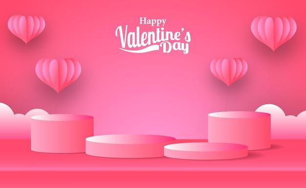 ピンクの囲炉裏イラストペーパーカットスタイルで空のステージ表彰台製品ディスプレイとバレンタインデーグリーティングカードマーケティングプロモーションバナー