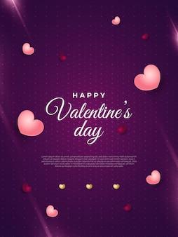 Поздравительная открытка или плакат ко дню святого валентина с разбросанными сердечками и светящимися вспышками на фиолетовом фоне с сердечным узором