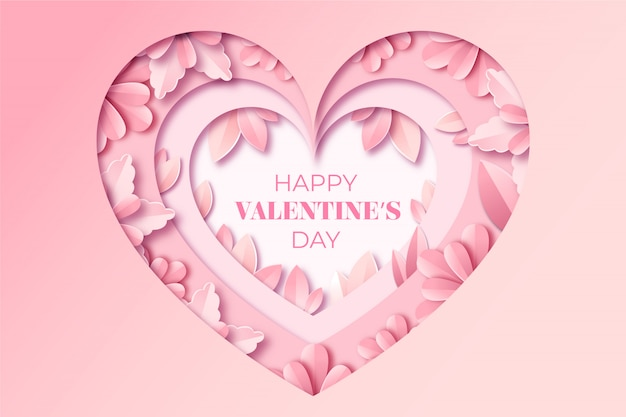 Valentine's day greeting card in paper style.