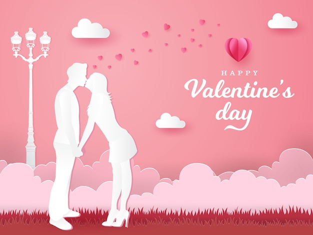 Valentine's day greeting card. romantic couple kissing and holding hands on pink