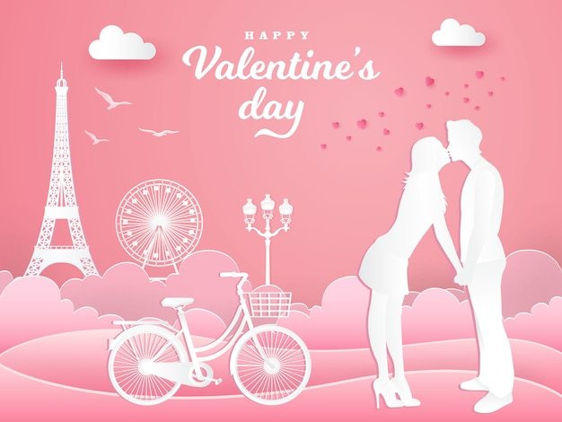 Valentine's day greeting card. romantic couple kissing in the park with  bicycle on pink