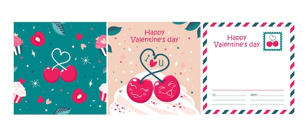 Поздравительная открытка дня святого валентина с вишней, бесшовный фон. вектор, розовый и изумрудный цвета.