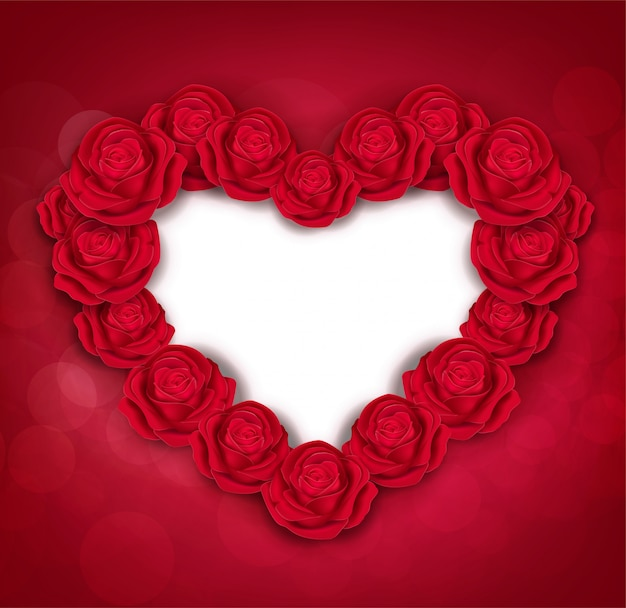 Valentine's day greeting card templates. red roses isolated on red background