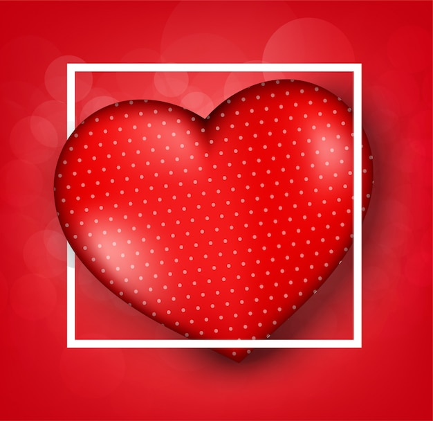 Valentine's day greeting card templates with realistic of beautiful red heart on red background