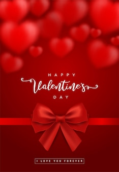 Valentine's day greeting card templates with realistic of beautiful red heart with ribbon