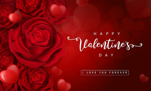 Valentine's day greeting card templates with realistic of beautiful red rose