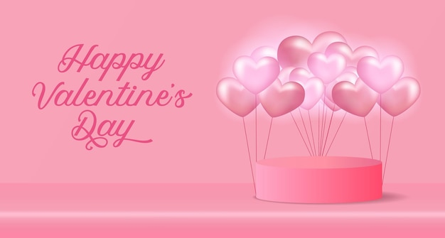 Valentine's day greeting card with 3d cylinder and heart shape balloon with soft pink pastel background