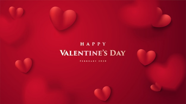 Valentine's day greeting card. with a 3d illustration of a red love balloon and with the word