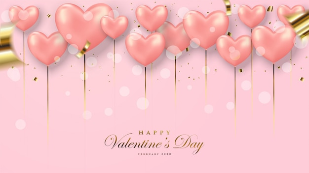 Valentine's day greeting card. with a 3d illustration of a red love balloon.