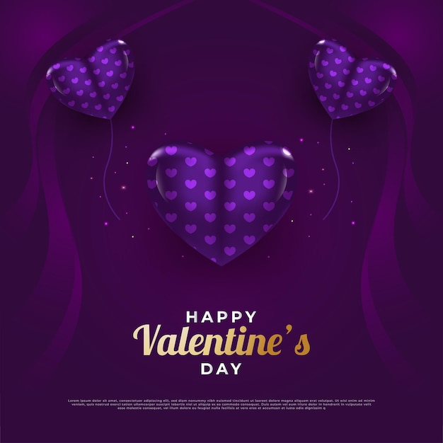 3d 퍼플 하트 발렌타인 데이 인사말 카드