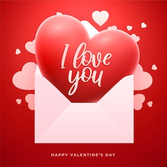 Valentine's day greeting card with 3d red heart and love letter envelope