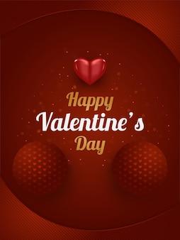 3d 붉은 마음으로 발렌타인 데이 인사말 카드