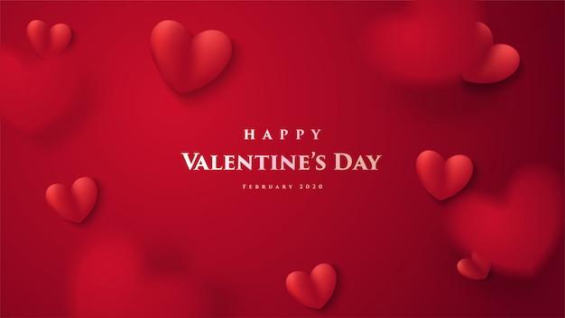 バレンタインのグリーティングカード。赤い愛バルーンの3 dイラストレーションと単語