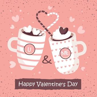 Поздравительная открытка дня святого валентина с парой любящих чашек.