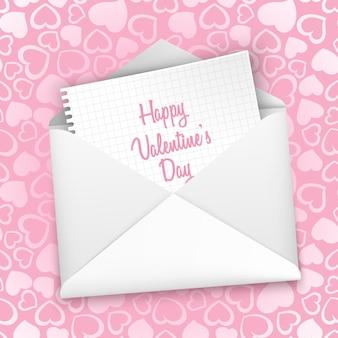 ハートの白い封筒のシームレスなパターンでバレンタインデーのグリーティングカード