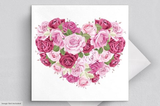 美しい花と葉のバレンタインデーのグリーティングカード