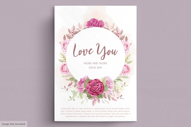 아름다운 꽃과 잎 발렌타인 데이 인사말 카드