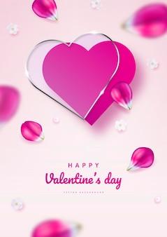 아름 다운 꽃으로 발렌타인 데이 인사말 카드