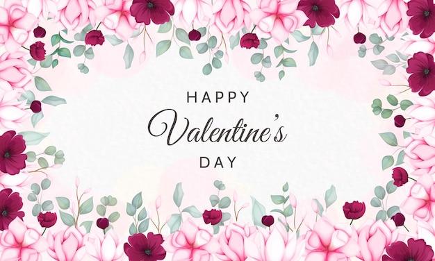 美しい花柄のバレンタインデーのグリーティングカード